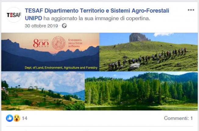 Collegamento a Il TESAF Dipartimento Territorio e Sistemi Agro-Forestali UNIPD è su Facebook